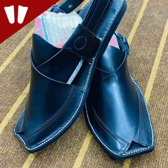 Peshawari Chappal - Pure Leather Peshawari Sandal - Handmade - Black