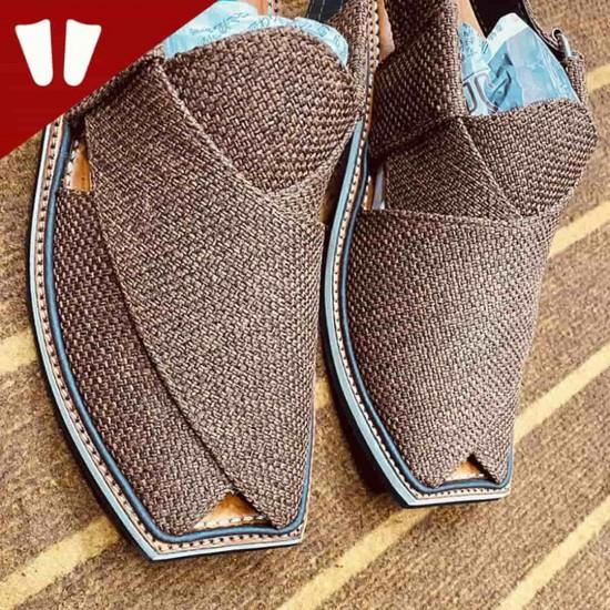 Stylish Waistcoat (material) Peshawari Chappal - Handmade Peshawari Sandal - chocolate