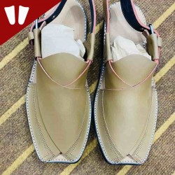 Peshawari Chappal - Pure Leather Peshawari Sandal - Handmade -  Side Strip -White