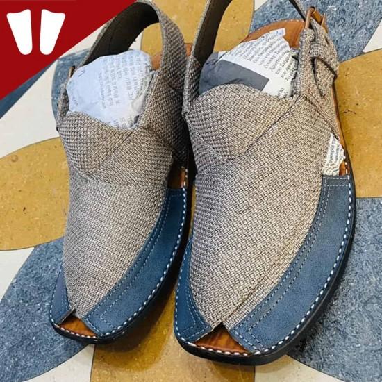 Stylish Waistcoat (material) Peshawari Chappal - Handmade - Sky Blue & Grey