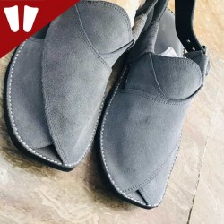 Sabar (suede) Peshawari Chappal - Pure Leather - Handmade - Grey