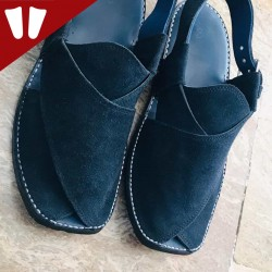 Sabar (suede) Peshawari Chappal - Pure Leather - Handmade - Blue