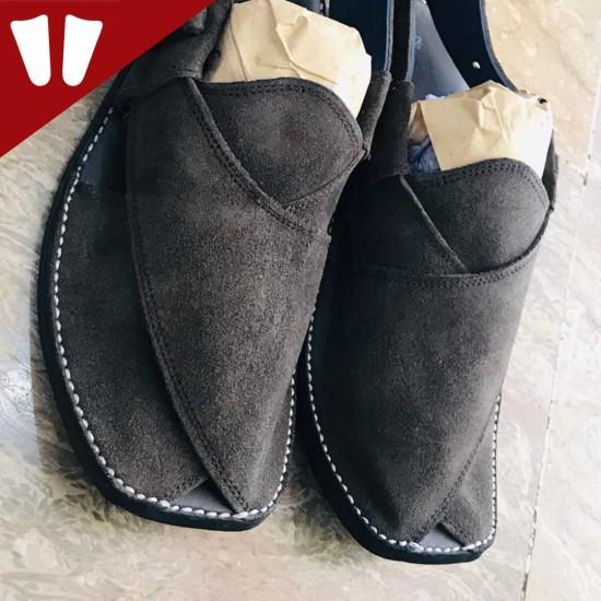 Sabar (suede) Peshawari Chappal - Pure Leather - Chocolate