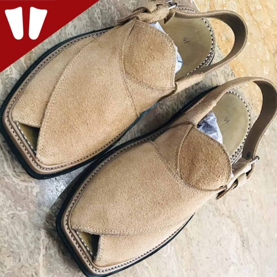 Sabar (suede) Peshawari Chappal - Pure Leather - Handmade - Light Brown
