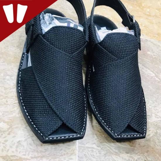 T-Stylish Waistcoat (material) Peshawari Chappal - Handmade - Black