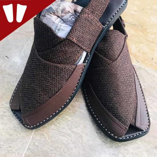 Stylish Waistcoat (material) Peshawari Chappal - Handmade - Chocolate