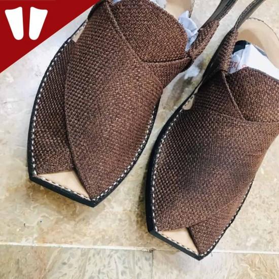 T-Stylish Waistcoat (material) Peshawari Chappal - Handmade - Chocolate
