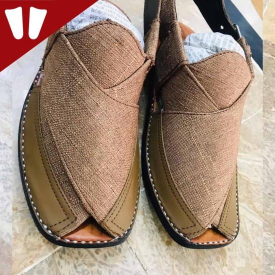 Stylish Waistcoat (material) Peshawari Chappal - Handmade - Light Brown