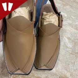 Peshawari Chappal - Pure Leather Peshawari Sandal - Handmade -  Side Strip