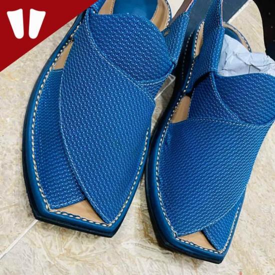 Stylish Waistcoat (material) Peshawari Chappal - Handmade - Doted Blue